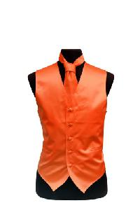 VS1010 Plain Satin Vest Tie Set Orange