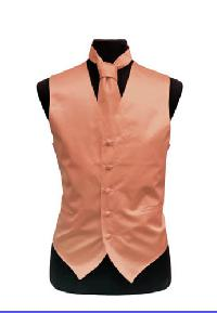 VS1010 Plain Satin Vest Tie Set Peach