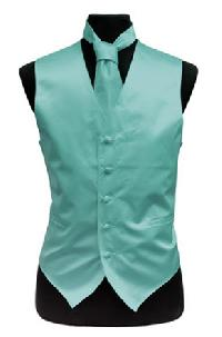 VS1010 Solid SLIM FIT Plain Satin Vest Tie Hanky Set AQUA