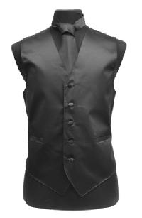 VS1010 Solid SLIM FIT Plain Satin Vest Tie Hanky Set BLACK