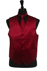 VS1010 Solid SLIM FIT Plain Satin Vest Tie Hanky Set Burgundy