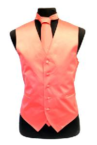 VS1010 Solid SLIM FIT Plain Satin Vest Tie Hanky Set CORAL