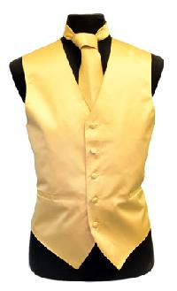 VS1010 Solid SLIM FIT Plain Satin Vest Tie Hanky Set GOLD