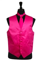 VS1010 Solid SLIM FIT Plain Satin Vest Tie Hanky Set HOT PINK