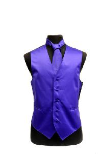 VS1010 Solid SLIM FIT Plain Satin Vest Tie Hanky Set PURPLE