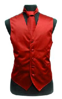 VS1010 Solid SLIM FIT Plain Satin Vest Tie Hanky Set RED