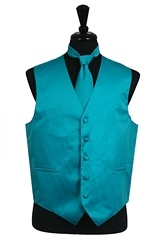 VS1010 Solid SLIM FIT Plain Satin Vest Tie Hanky Set TURQUOISE