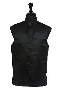 VS1010 Plain Satin Vest Tie Set Black