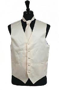 VS1010 Plain Satin Vest Tie Set Ivory