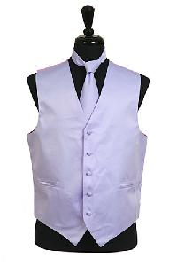 VS1010 Plain Satin Vest Tie Set Lavender