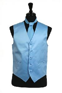 VS1010 Plain Satin Vest Tie Set Light Blue