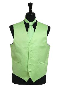 VS1010 Plain Satin Vest Tie Set Mint Green