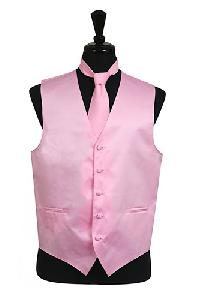 VS1010 Plain Satin Vest Tie Set Pink