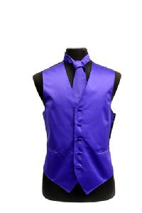 VS1010 Plain Satin Vest Tie Set Purple