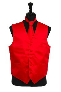 VS1010 Plain Satin Vest Tie Set Red