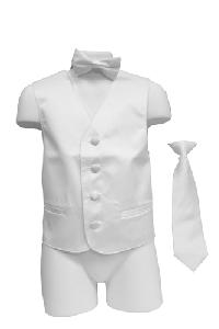 VS1010 Boy's Plain Satin Vest, Tie & Bowtie 3pcs Set Cream