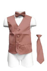 VS1010 Boy's Plain Satin Vest, Tie & Bowtie 3pcs Set Dusty Pink
