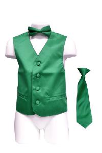 VS1010 Boy's Plain Satin Vest, Tie & Bowtie 3pcs Set Emerald