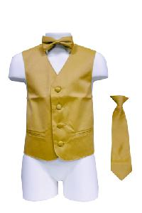 VS1010 Boy's Plain Satin Vest, Tie & Bowtie 3pcs Set Gold