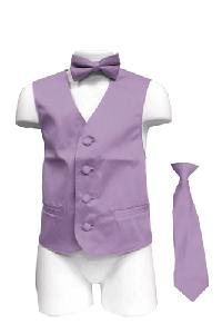 VS1010 Boy's Plain Satin Vest, Tie & Bowtie 3pcs Set Lavender