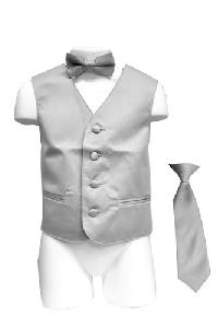 VS1010 Boy's Plain Satin Vest, Tie & Bowtie 3pcs Set Grey