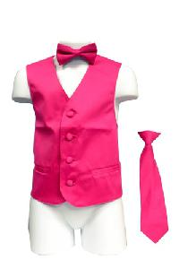 VS1010 Boy's Plain Satin Vest, Tie & Bowtie 3pcs Set Hot Pink