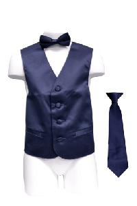 VS1010 Boy's Plain Satin Vest, Tie & Bowtie 3pcs Set Navy