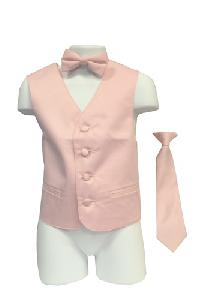VS1010 Boy's Plain Satin Vest, Tie & Bowtie 3pcs Set Pink