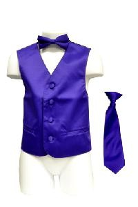 VS1010 Boy's Plain Satin Vest, Tie & Bowtie 3pcs Set Purple