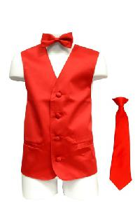VS1010 Boy's Plain Satin Vest, Tie & Bowtie 3pcs Set Red