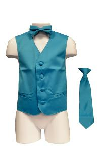 VS1010 Boy's Plain Satin Vest, Tie & Bowtie 3pcs Set Turquoise
