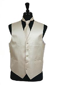VS2010 Horizontal Rib Pattern Vest Tie Set Beige