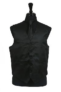 VS2010 Horizontal Rib Pattern Vest Tie Set Black