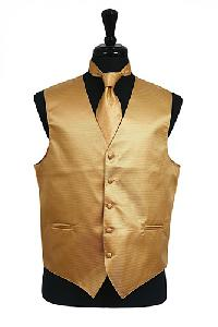 VS2010 Horizontal Rib Pattern Vest Tie Set Gold