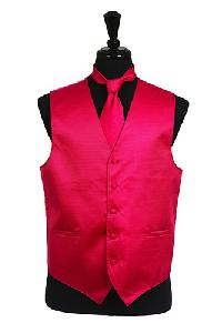 VS2010 Horizontal Rib Pattern Vest Tie Set Hot Pink