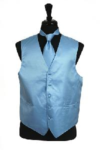 VS2010 Horizontal Rib Pattern Vest Tie Set Light Blue
