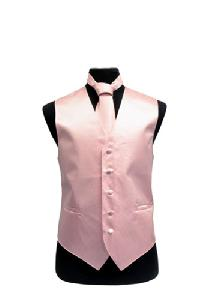 VS2010 Horizontal Rib Pattern Vest Tie Set Pink