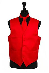 VS2010 Horizontal Rib Pattern Vest Tie Set Red