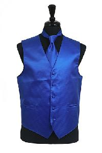 VS2010 Horizontal Rib Pattern Vest Tie Set Royal Blue