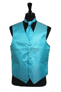 VS2010 Horizontal Rib Pattern Vest Tie Set Turquoise