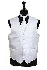 VS2010 Horizontal Rib Pattern Vest Tie Set White