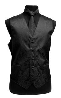 VS278 Paisley tone on tone Vest Tie, Bowtie, Hanky 4pcs set EXTRA BIG Black