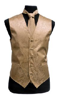 VS278 Paisley tone on tone Vest Tie, Bowtie, Hanky 4pcs set EXTRA BIG Gold