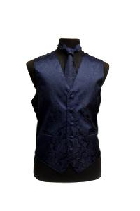 VS278 Paisley tone on tone Vest Tie Set Navy