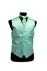 VS278 Paisley tone on tone Vest Tie Set Aqua