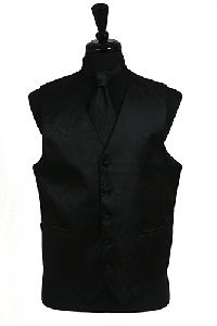 VS278 Paisley tone on tone Vest Tie Set Black
