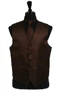 VS278 Paisley tone on tone Vest Tie Set Brown
