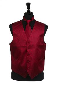 VS278 Paisley tone on tone Vest Tie Set Burgundy