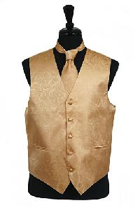 VS278 Paisley tone on tone Vest Tie Set Gold