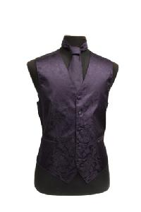 VS278 Paisley tone on tone Vest Tie Set Grape